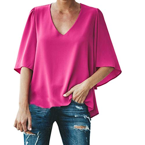 LISTHA Casual Chiffon Blouse for Women 3/4 Peplum Sleeve Tops Solid V Neck - Charmeuse Ruffled Blouse