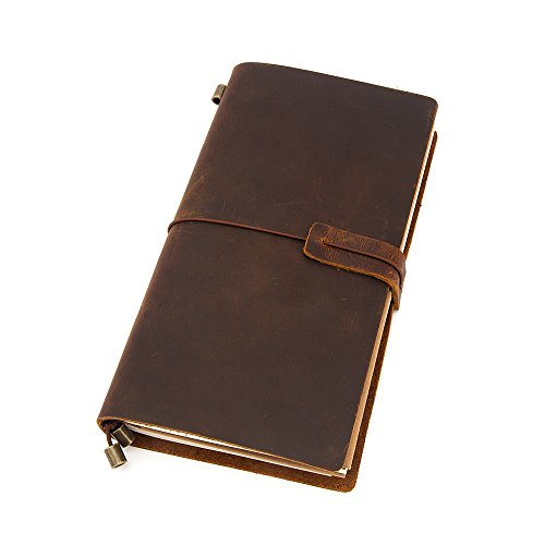 Leather Journal, Handmade Vintage Leather Notebook Refillable, Antique Soft Leather, Gift for Men & Women, Travel Diary & Travelers Journal, Poem and Bible to write in, 8.7 × 4.7 Inches, Brown