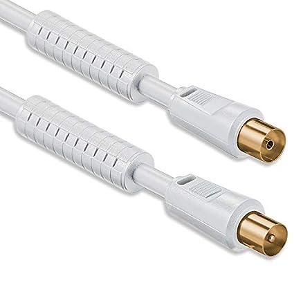 1aTTack - Cable coaxial para antena (conector coaxial F a conector coaxial F, doble apantallamiento, ...