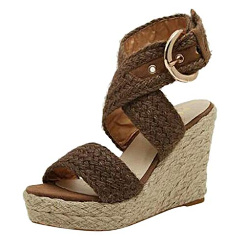 SMALLE_Shoes Wedges Espadrilles for Women,Women's Wedge Sandals Open Toe Ankle Strap Retro Platform Sandals with Rivets Brown