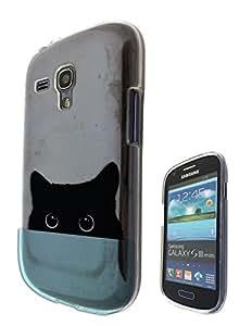 c0347 - Cute Black Cat Peeking Head Design Samsung Galaxy S3 Mini Fashion Trend CASE Gel Rubber Silicone All Edges Protection Case Cover