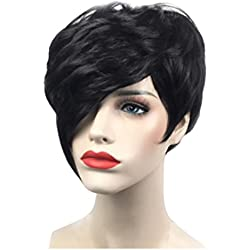 Inkach Curly Short Wigs, Fashion Girls Bob Wig Synthetic Straight Hair Wigs (Black)