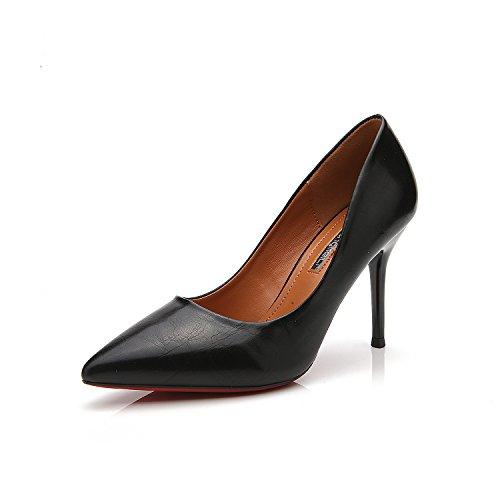 la la alto con yuan Zapatos con única punta de hembra del Heel versión ol Black el zapatos Shoes talón multa alto de luz A la coreana fina wqXZtt
