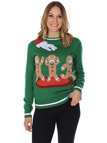 Women's Ugly Christmas Sweater - the Gingerbread Nightmare Funny Sweater Green Size L