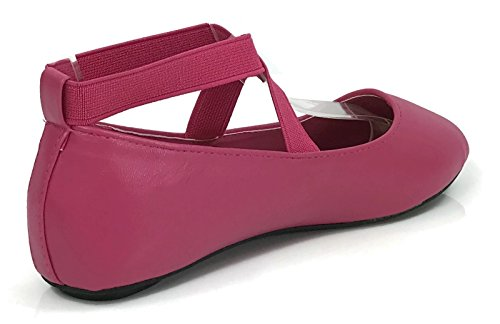 Osito Collection Girls Kids Princess Ankle Wrap Ballet Flats Fuchsia 9 US Toddler - Image 2