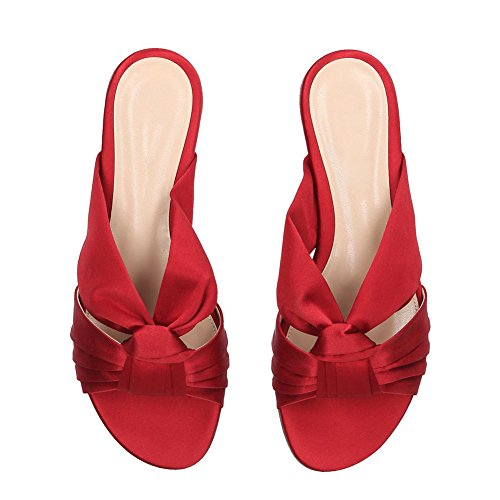Flat Ladies Sandals Size Heel Women's Vacation Red Shoes Slippers Shoes Beach Red Satin Large Casual Color Size 46 EqFwz8f
