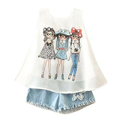 Fabal Baby Girls Summer Shorts Shirt + Denim Jeans Cowboy Clothes Girls Clothing Sets