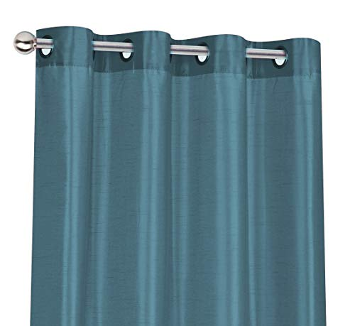 Regal Home Collections 2 Pack Semi Sheer Faux Silk Grommet Curtains - Assorted Colors (Seaside Blue) (Silk Raw Drapes)