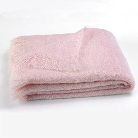 Luxury 100 Fine Mohair Throw Blankets Exclusive Designer Accent Throws Made In New Zealand Heirloom Quality In 30 Solid Colors Cotton Candy Pink
