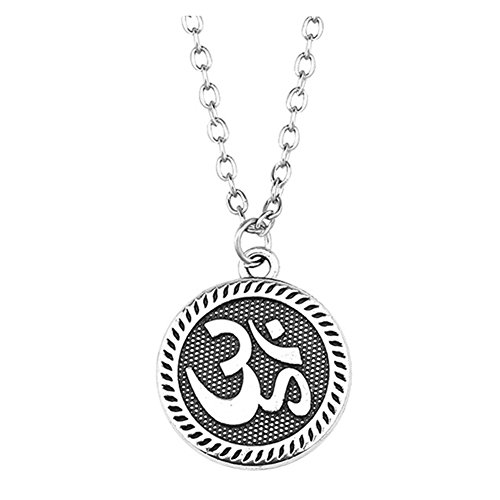 BAEBAE Sterling Silver Plated OM YoGa Logo Engraved Round charm Pendant Necklace,20''