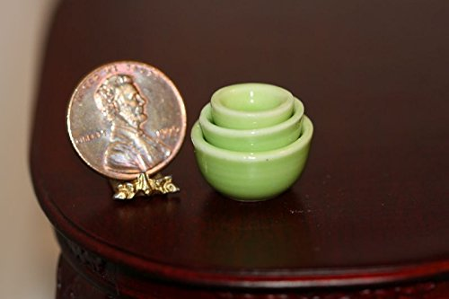 Dollhouse Miniature 3 Piece Apple Green Glazed Ceramic Bowl Set