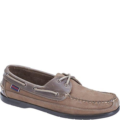 Sebago Mens Schooner Boat Shoe Dark Taupe Nubuck/Leather ycfuwyYS