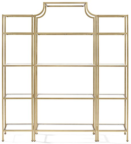 Crosley Furniture KF65004GL Aimee 3-Piece Etagere Bookcase Set - Gold and Glass (Furniture Office Home Piece 3)