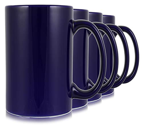 17oz Cobalt Classic Tall Mugs for Coffee or Tea. Large Handles and Ceramic Construction, Set of 4 by Serami