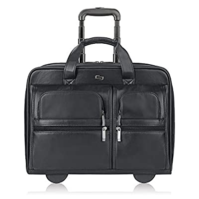 Solo Franklin Premium Leather 15.6 Inch Rolling Laptop Case