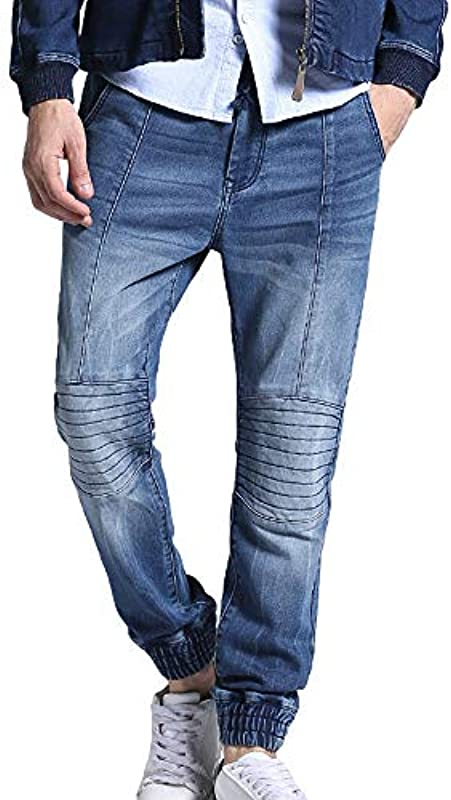 unknow YYXDP Gestrickte Stretchjeans FüR Męskie, Elastische Taillenjeans Mit Kordelzug, Fit Classic Basic Denim Jeans Und Joggers Jeans FüR Męskie In ÜBergrößE: Odzież