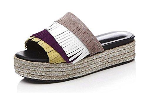 de Zapatillas verano plataforma gruesa Sandalias Casual Falda paja Sandalias de de Women de Frosted Purple Leather mujer pq7gqv