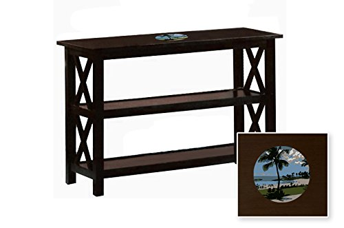 New Cappuccino / Espresso Finish Sofa Table with Shelves featuring a Hawaii Logo by The Furniture Cove