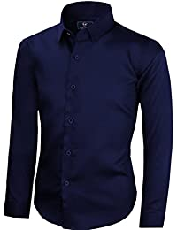 Black n Bianco Boys' Signature Sateen Long Sleeve Dress Shirt Black