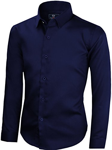 (Black n Bianco Boys' Signature Sateen Long Sleeve Dress Shirt (7, Navy))