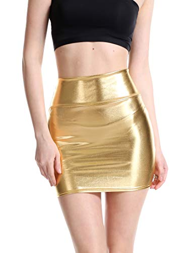 Gold Metalic Skirt (Verochic Women's Shiny Metallic Liquid Wet Look Mini Skirt for Women Nightout Wear (Gold, US Size)