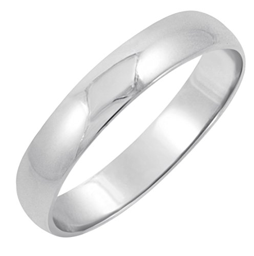 Men's 10K White Gold 4mm Classic Fit Plain Wedding Band (Available Ring Sizes 7-12 1/2) Size 9.5