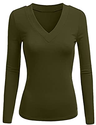 TL Womens Variety Comfy Solid V-Neck Long Sleeve Thermal Basic Tops