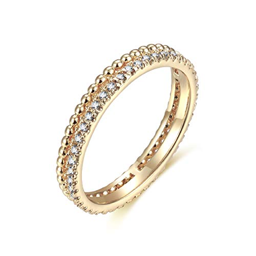 (Valloey Rings for Women Dainty Handmade 14K Gold Fill Sterling Silver CZ Thin Beaded Crown Diamond Adjustable Stacking Rings Minimalist Jewelry)