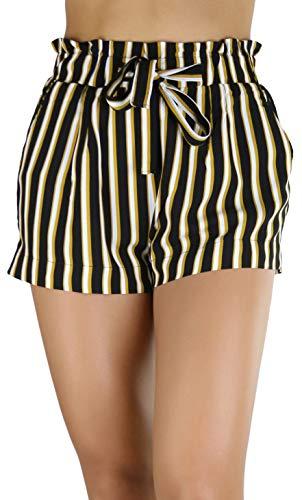 ToBeInStyle Women's Multi-Stripe Paperbag Shorts - Black/Mustard - Small