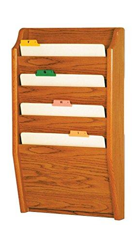 Wooden Mallet 4-Pocket File Holder, Letter Size, Medium Oak