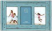 PRINZ Homestead Moldura de madeira envelhecida de 10 cm x 15 cm para três fotos, azul
