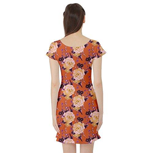 Cowcow Femmes Robe Manches Courtes Floral Vintage Roses Orange