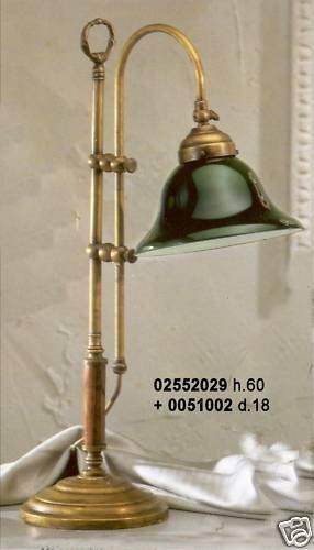 Lámpara de mesa de latón Studio Oficina con cristal verde ...