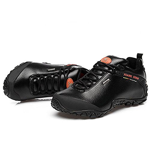Xiang Guan Herren Low-top Leder Wasserdicht Outdoorschuhe Sport Camping Wandern Walking Trekking Schuhe Sneaker Schwarz