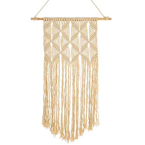 Macrame Wall Hanging Home Decor (Large) Bohemian Decorative Art Tapestry for Living Room, House, Apartment   Vintage Style, Handmade Craft