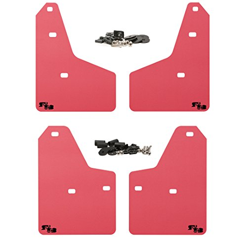 RokBlokz Mud Flaps for 2012+ Ford Focus - Multiple Colors Available - Set of 4 - Fits All MK3 Models - Includes All Hardware and Detailed Instructions (Red with Black Logo, Originalz)