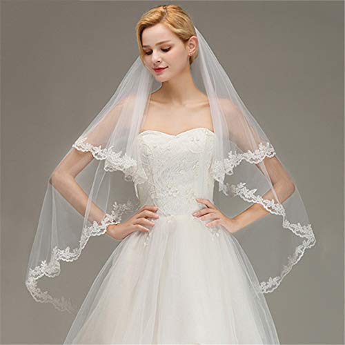 Two Layers Lace Edge White Ivory Short Wedding Veil With Comb Soft Tulle Bridal Veil Sailing Wedding Ivory