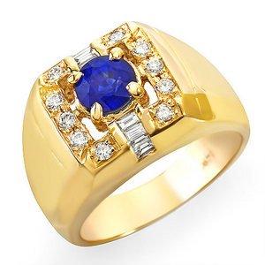 (1.45 Ct Ceylon Blue Sapphire and Diamond Ring 14k Gold)