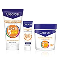 Clearasil Stubborn Acne Control Kit- 5-in-1 Daily Facial Cleansing Pads (90 Count), Exfoliating Wash (6.78 oz.) & Spot Treatment Cream (1 oz.) Salicylic Acid & Benzoyl Peroxide Treatment, 1 Each
