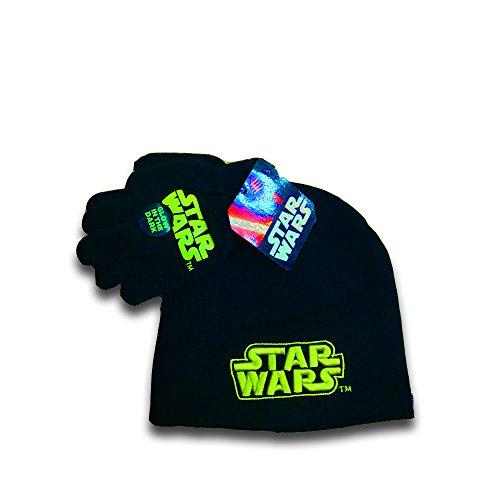 Disney Star Wars Boys Knit Hat Beanie & Gloves Set (Star Wars Logo (GLOW IN THE DARK)) (Vader Gloves)