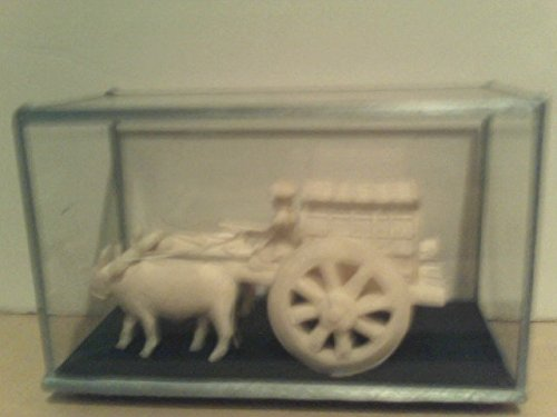 Asian Carving (Oriental Asian Sculpture of Oxen Pulling Wagon White Handmade Art Piece Vintage, Wagon Group Carving, Chinese Man Driving Cart with Woman Riding in the Back Under Canopy)