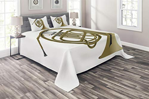 Lunarable Music Coverlet Set Queen Size, French Horn Brass Instrument European Arts Pipe Jazz Orchestra Band Graphic, 3 Piece Decorative Quilted Bedspread Set with 2 Pillow Shams, Khaki Grey White ()
