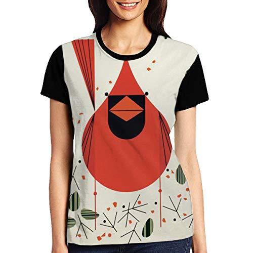 Cardinal Birds Merry Christmas Tee Womens Casual Crewneck Short Sleeve Polyester ()