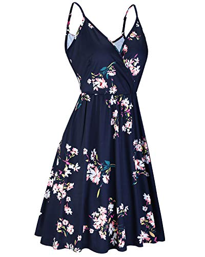 STYLEWORD Women's V Neck Floral Spaghetti Strap Summer Casual Swing Dress with Pocket 2