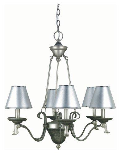 Lite Source LS-14656 Laurel 6-Lite Chandelier Lamp with Silver Paper ()