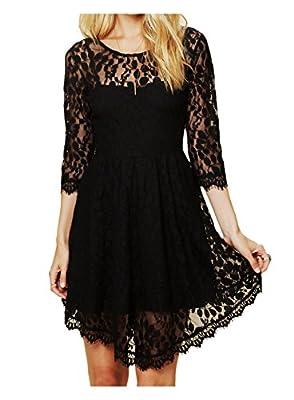 CA Fashion Women's 3/4 Sleeve Twinset 2 PCs Lace Asymmetrical Hem Dress