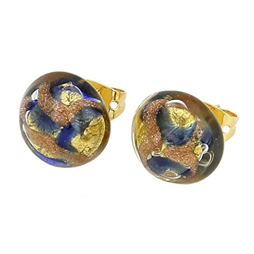 (GlassOfVenice Murano Glass Button Stud Earrings - Gold and Blue)