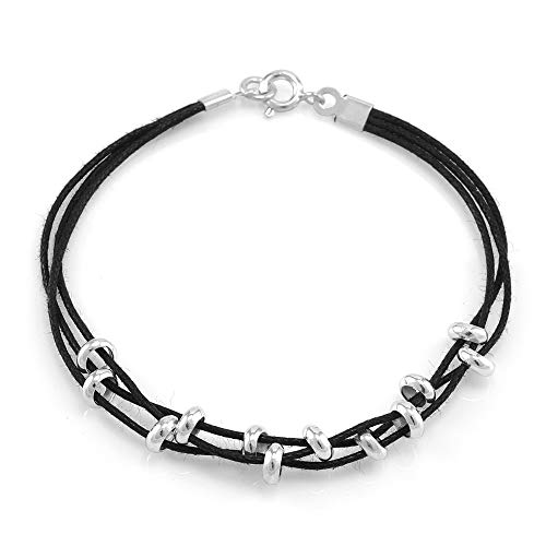 SUVANI 925 Sterling Silver and Black Cotton Cord Ring Beads 3-Strand Bracelet