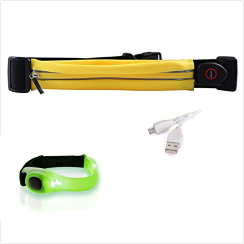 LED Waist Running Belt USB Rechargeable with LED Reflective Armband Light Weight Polyester Sport Belt Adjustable Elastic Band and Buckle for Runner (Yellow)