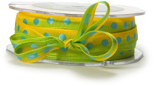 May Arts 3/8-Inch Wide Ribbon, Yellow and Parrot Green with Light Blue Dots